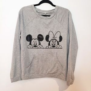 Mickey & Minnie Mouse Half Face Crew Neck Sweater